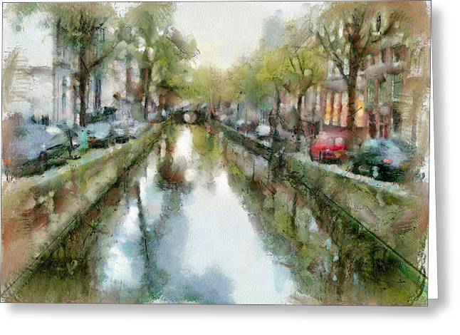 Old Town Digital Art Greeting Cards - Amsterdam canals view Greeting Card by Yury Malkov