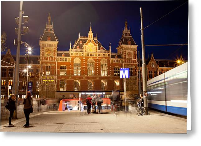 Renaissance Center Greeting Cards - Amsterdam Central Station and Metro entrance Greeting Card by Artur Bogacki