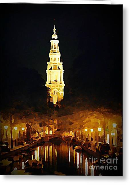 Halifax Art Work Greeting Cards - Amsterdam Church and Canal Greeting Card by John Malone