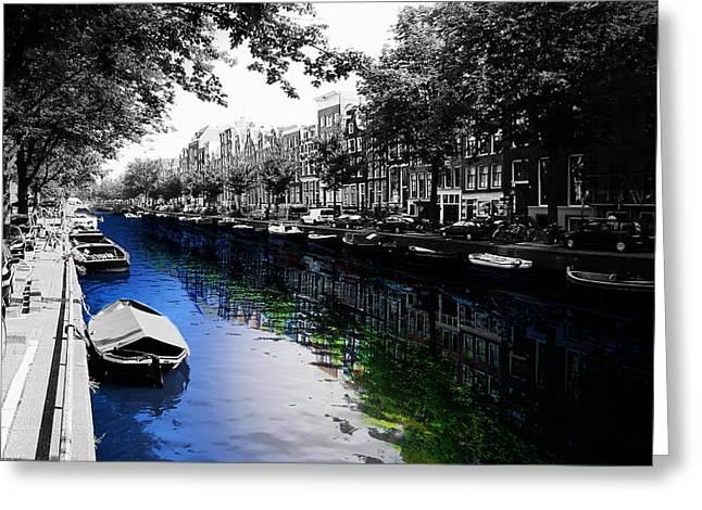 Netherlands Greeting Cards - Amsterdam Colorsplash Greeting Card by Nicklas Gustafsson