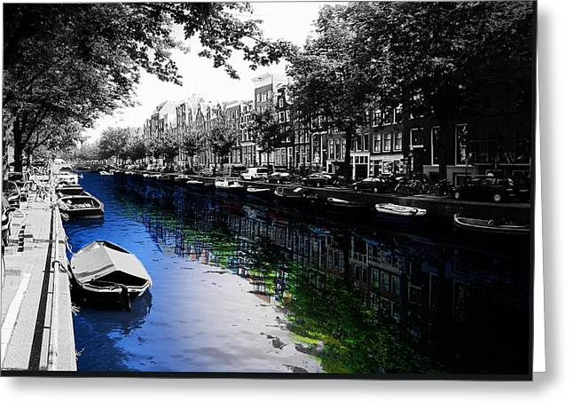 City Canal Greeting Cards - Amsterdam Colorsplash Greeting Card by Nicklas Gustafsson