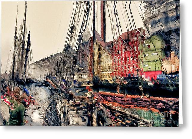 Masts Greeting Cards - Amsterdam Docks Greeting Card by Barbara D Richards