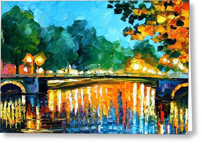 Impressionist Greeting Cards - Amsterdam-Early Morning - PALETTE KNIFE Oil Painting On Canvas By Leonid Afremov Greeting Card by Leonid Afremov
