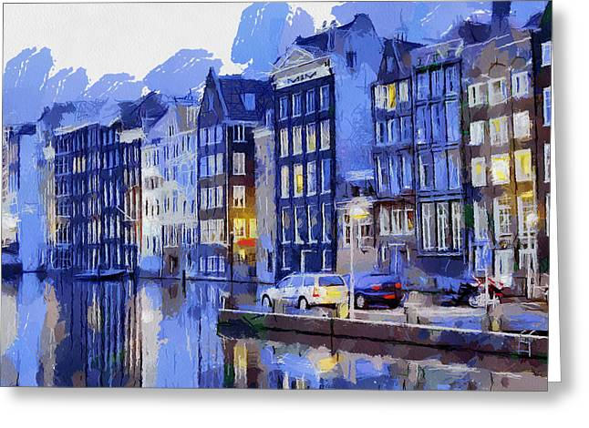 Amsterdam With Blue Colors Greeting Card by Georgi Dimitrov