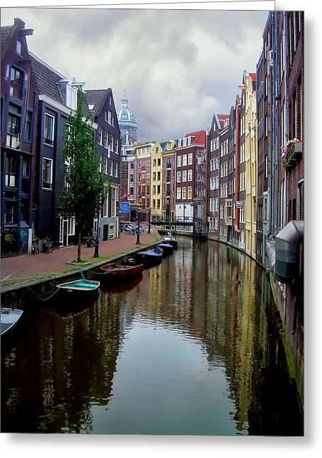 Floating House Greeting Cards - Amsterdam Greeting Card by Heather Applegate