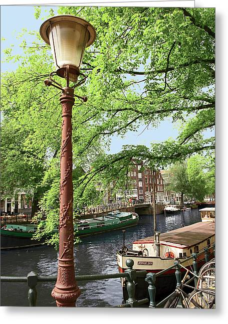 Amsterdam, Holland, Old Gas Lamp Post Greeting Card by Miva Stock