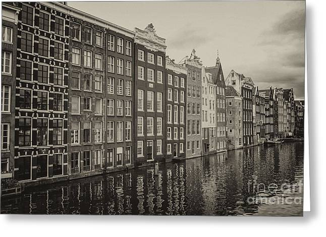 Gabled Greeting Cards - Amsterdam houses on a canal Greeting Card by Patricia Hofmeester