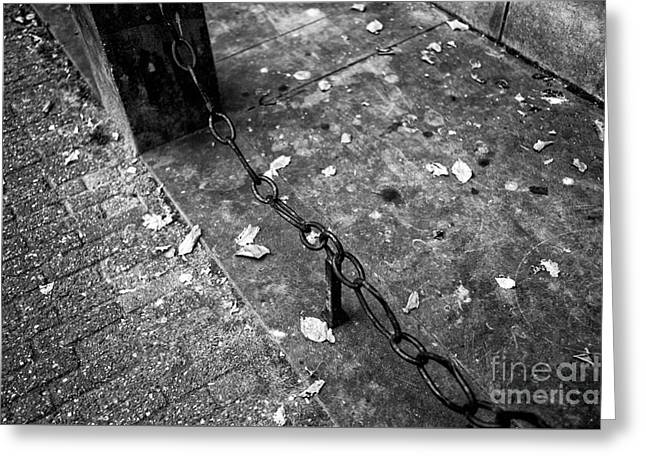 Old Street Greeting Cards - Amsterdam Links mono Greeting Card by John Rizzuto