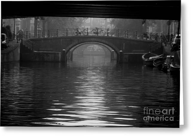 Coffee Drinking Greeting Cards - Amsterdam Misty Morning Greeting Card by Sergio B