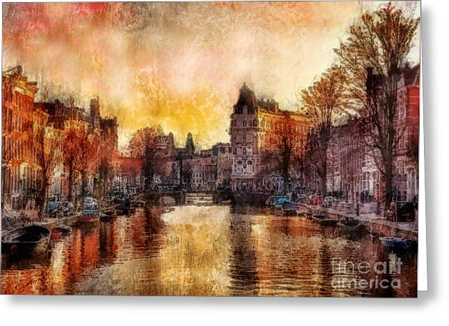 Amsterdam Paintings Greeting Cards - Amsterdam Greeting Card by Mo T