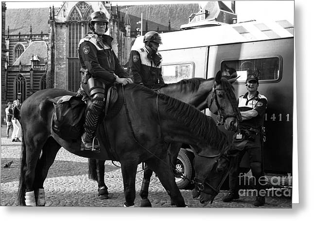 Police Officer Greeting Cards - Amsterdam Mounted Police mono Greeting Card by John Rizzuto