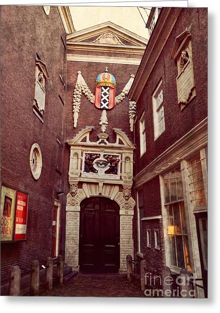 Street Pyrography Greeting Cards -  Amsterdam Historical Museum Greeting Card by Miryam  UrZa