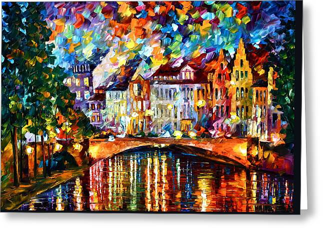 Amsterdam Paintings Greeting Cards - Amsterdam New Greeting Card by Leonid Afremov