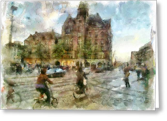 Old Town Digital Greeting Cards - Amsterdam on Bikes Greeting Card by Yury Malkov