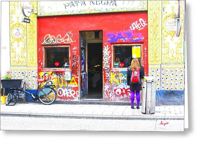 Coffee Drinking Greeting Cards - Amsterdam Pata Negra Restaurant and Bar Greeting Card by Sergio B