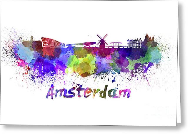 Amsterdam Paintings Greeting Cards - Amsterdam skyline in watercolor Greeting Card by Pablo Romero