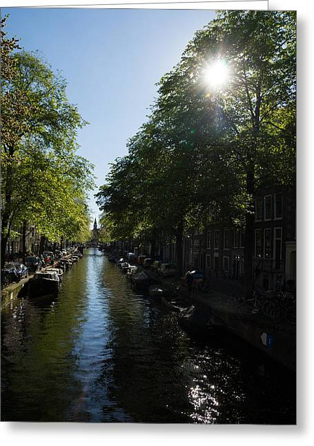 Canal Street Line Greeting Cards - Amsterdam Spring - Green Sunny and Beautiful Greeting Card by Georgia Mizuleva