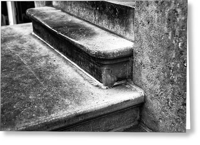 Stepping Stones Greeting Cards - Amsterdam Stair Dimensions mono Greeting Card by John Rizzuto