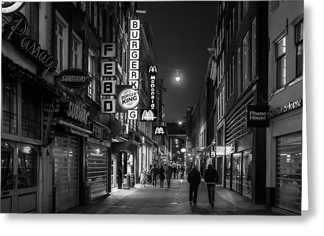 Buster Brown Greeting Cards - Amsterdam Street at Night Greeting Card by Buster Brown