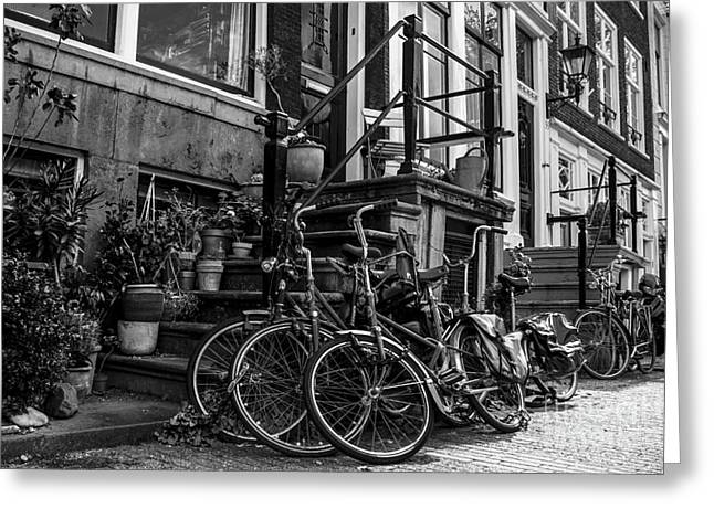 Tradional Greeting Cards - Amsterdam street scene in black and white Greeting Card by Stuart Renneberg