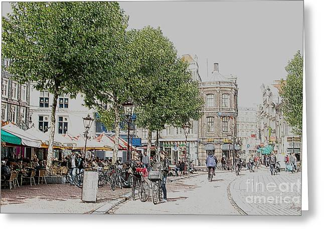Coffee Drinking Greeting Cards - Amsterdam Streets 3 Greeting Card by Sergio B