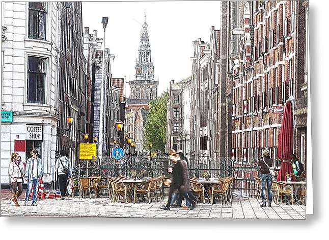 Coffee Drinking Greeting Cards - Amsterdam Streets Greeting Card by Sergio B