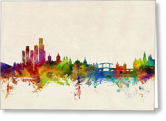 Dutch Greeting Cards - Amsterdam The Netherlands Skyline Greeting Card by Michael Tompsett
