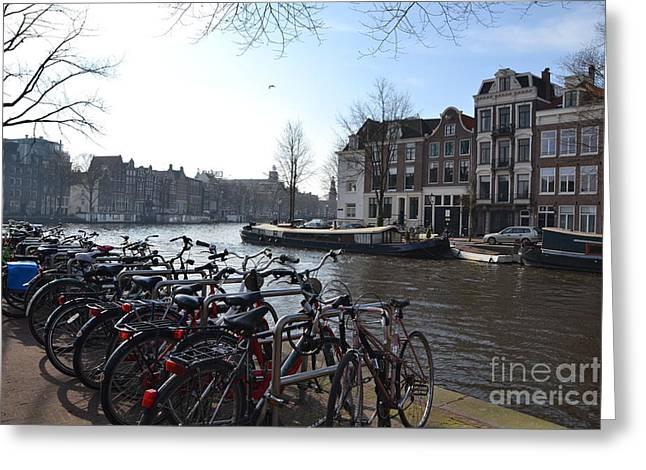 Wheel Pyrography Greeting Cards - Amsterdam view  Greeting Card by Miryam  UrZa