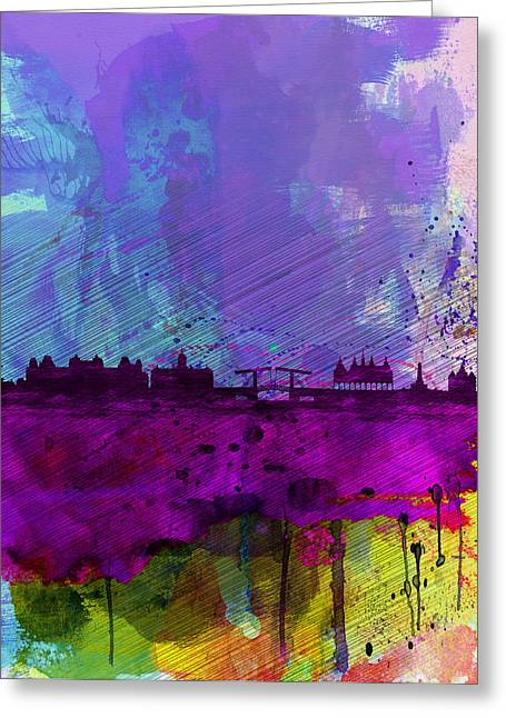 Amsterdam Greeting Cards - Amsterdam Watercolor Skyline Greeting Card by Naxart Studio