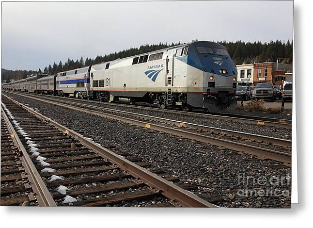 Transporation Greeting Cards - Amtrak California Zephyr Trains In Snowy Truckee California 5D27528 Greeting Card by Wingsdomain Art and Photography