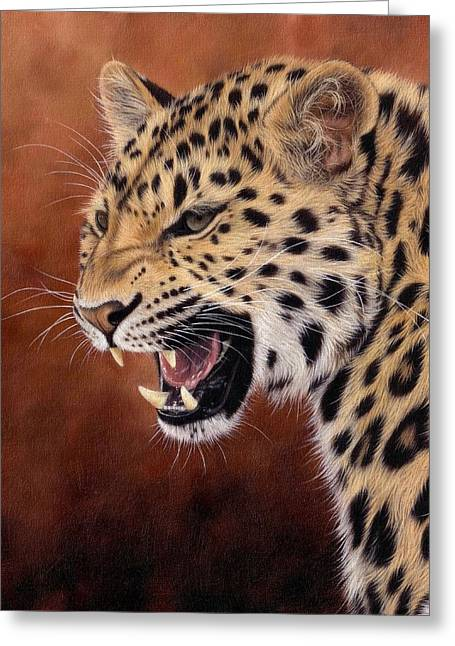 Big Cat Art Greeting Cards - Amur Leopard Painting Greeting Card by Rachel Stribbling