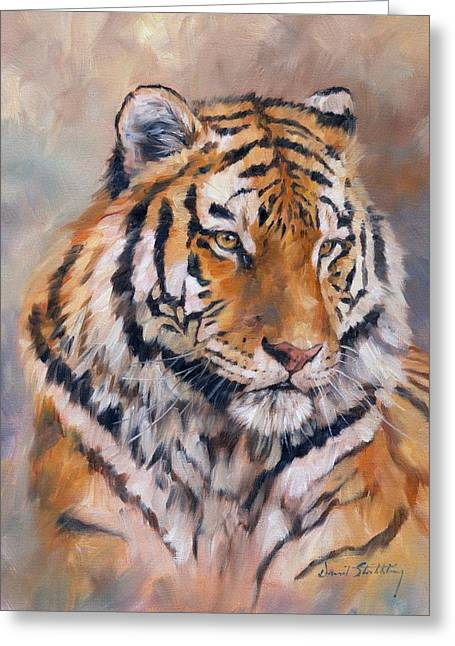 David Greeting Cards - Amur Tiger Greeting Card by David Stribbling
