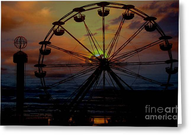 Sunset Framed Prints Digital Greeting Cards - Amusement Park Greeting Card by Beverly Guilliams