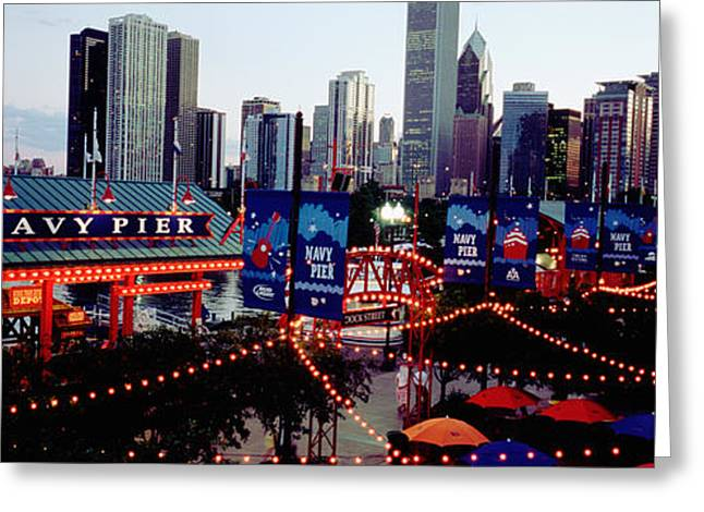 Amusements Greeting Cards - Amusement Park Lit Up At Dusk, Navy Greeting Card by Panoramic Images