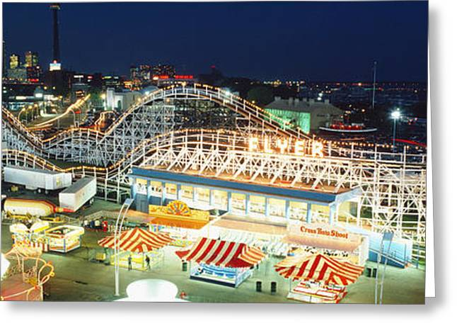 Theme Parks Greeting Cards - Amusement Park Ontario Toronto Canada Greeting Card by Panoramic Images