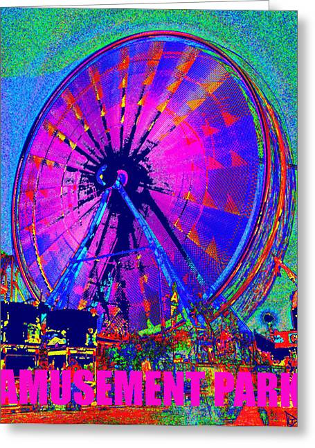 Amusements Digital Art Greeting Cards - Amusement Park original work A Greeting Card by David Lee Thompson