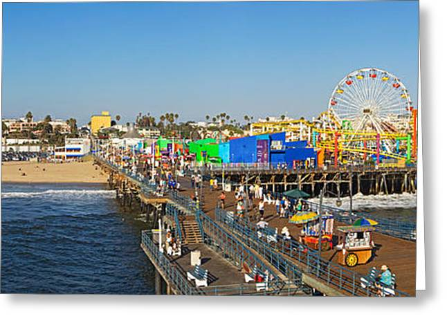 Amusements Greeting Cards - Amusement Park, Santa Monica Pier Greeting Card by Panoramic Images