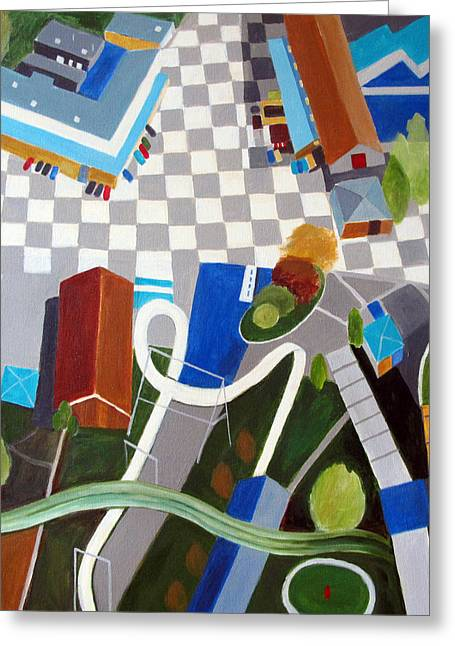 Slide Paintings Greeting Cards - Amusement Park Greeting Card by Toni Silber-Delerive