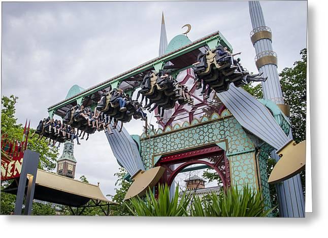 Vertigo Greeting Cards - Amusement Ride - Tivoli Gardens - Copenhagen Denmark Greeting Card by Jon Berghoff