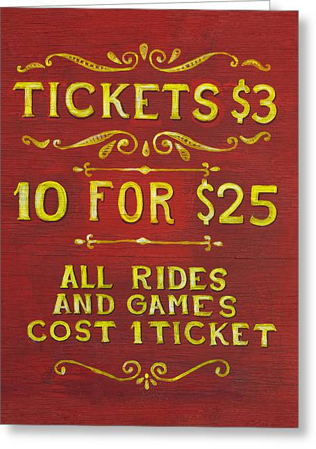 Painted Wood Greeting Cards - Amusement - Tickets 3 Dollars Greeting Card by Mike Savad