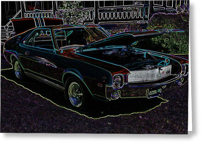 32 Ford Truck Greeting Cards - AMX Neon Glow Greeting Card by Steve McKinzie