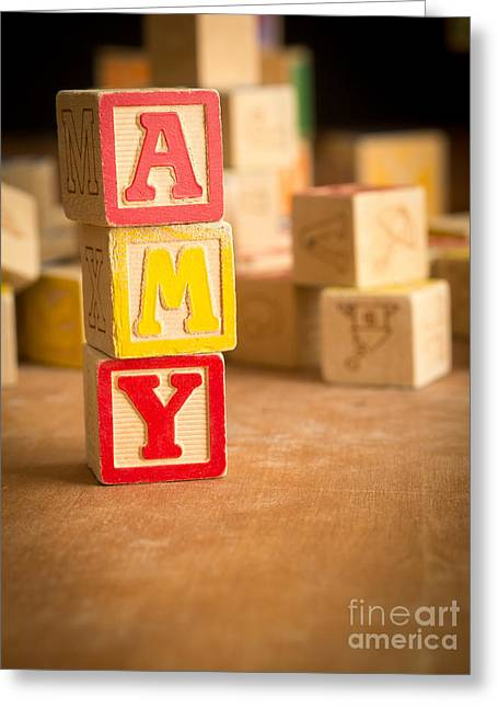 Wooden Alphabet Blocks Greeting Cards - AMY - Alphabet Blocks Greeting Card by Edward Fielding