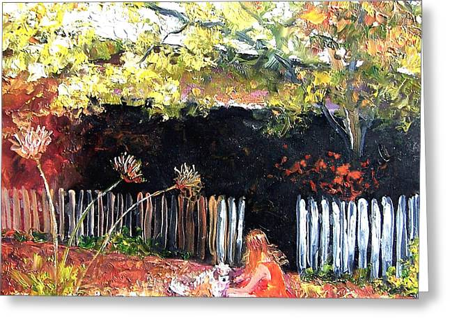 Autumn Landscape Paintings Greeting Cards - Amy and Milo Greeting Card by Jan Matson