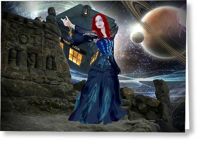 Doctor Who Greeting Cards - Amy and the Tardis Greeting Card by Digital Art Cafe
