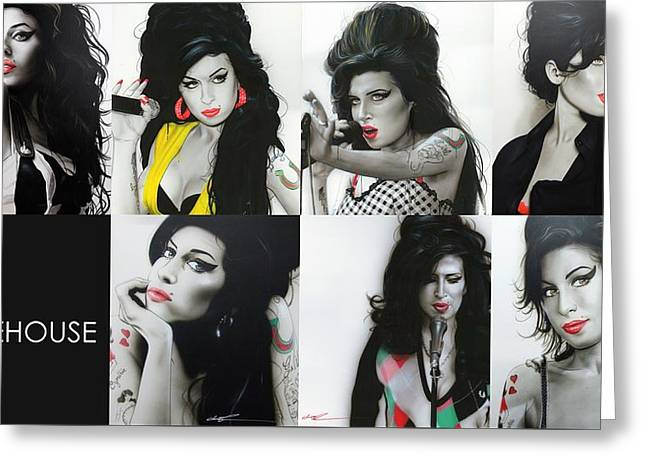 Amy Winehouse - ' Amy Eternal ' Greeting Card by Christian Chapman Art