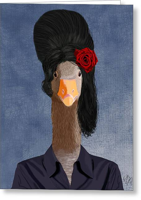 Hairdo Greeting Cards - Amy Goose Greeting Card by Kelly McLaughlan
