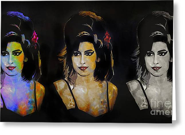 Award Digital Greeting Cards - Amy Jade Winehouse Greeting Card by Andrzej Szczerski