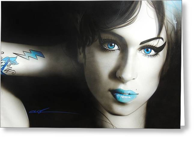 'amy 'n' Blues' Greeting Card by Christian Chapman Art