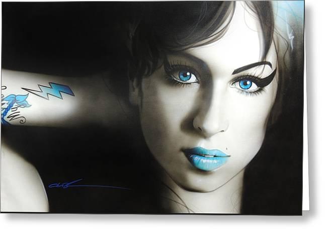 Amy Winehouse - 'amy 'n' Blues' Greeting Card by Christian Chapman Art
