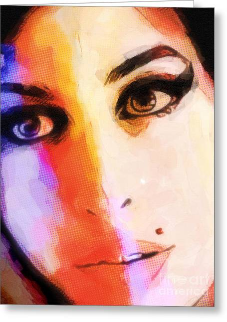 Amy Pop-art Greeting Card by Lutz Baar